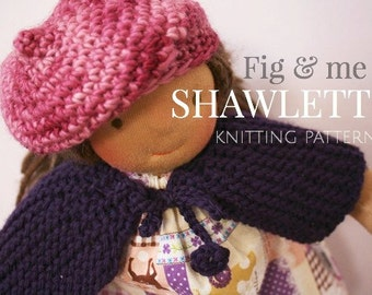 DIY Doll Clothing, Shawl or Cape, Short rows knitting, PDF Knitting pattern, Waldorf Style doll clothing, Shawlette by Fig and Me.