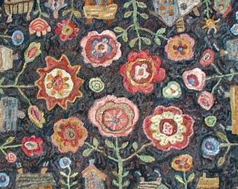 Flowerbox in 2 sizes rug hooking pattern