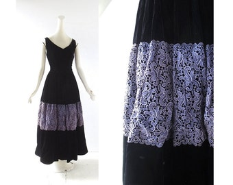 Vintage 1950s Dress / Nocturne / Black Velvet Dress / 50s Dress / XXS