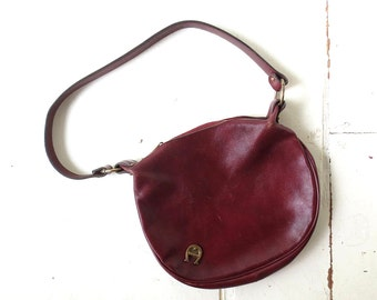 Etienne Aigner Bag / 1970s Purse / Oxblood Leather Shoulder Bag