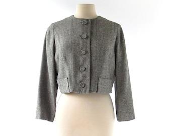 Vintage Herringbone Jacket / 1950s Jacket / Cropped Jacket / 50s Jacket / Medium M