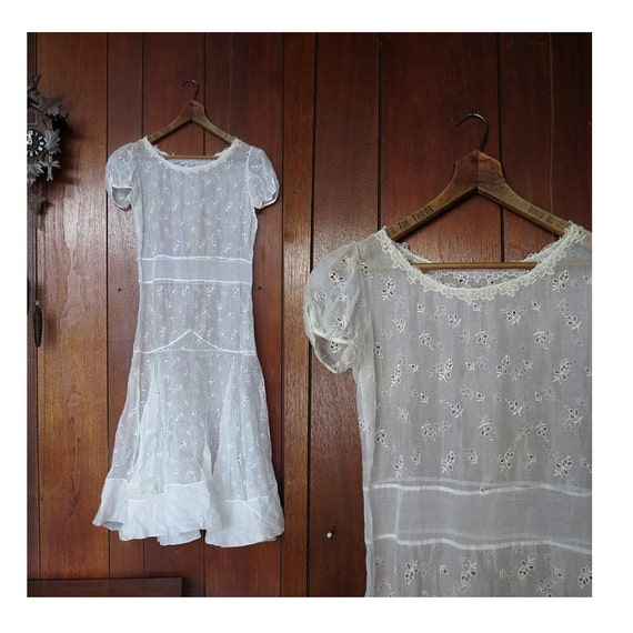 Vintage 20s Dress White Eyelet Dress 1920s Wedding Dress