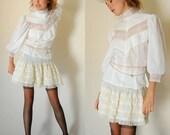 Edwardian Revival Blouse Vintage 70s Sheer White Cotton Chevron Lace Prairie Edwardian Boho Blouse (s m)