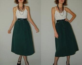 Vintage 70s Forest Green High Waist Preppy Indie Midi Skirt (xs)