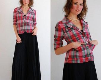Preppy Plaid Blazer Vintage 60s Tartan Plaid Shrunken Fit Preppy Indie Blazer Jacket  (s m)