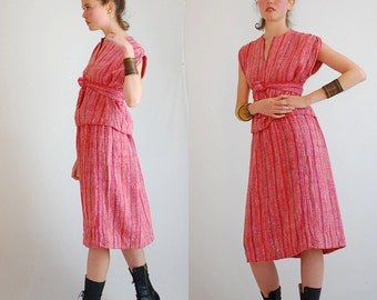 Guatemalan Dress Vintage 70s Red Hand Woven Ethnic Guatemalan Top and Skirt Set (s m)