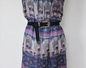 Vintage Indian Gauze Dress Tunic Peacock Print Silver Thread