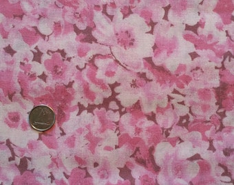 PK033 ~ Pink flowers fabric Pink and brown fabric Quilt fabric Quilting fabric