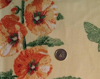 FL015 ~ Floral fabric Red Orange Purple flowers Soft Yellow fabric Cotton fabric