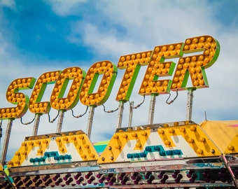 Yellow Scooter Ride Neon Sign Fine Art Print- Carnival Art, County Fair, Nursery Decor, Home Decor, Children, Baby, Kids