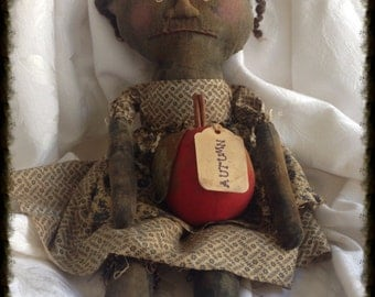Primitive Folk Art Black Doll Autumn