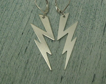 Silver Lightning Bolt Earrings lightning bolts zig zag thunderbolt earrings thunder storm weather earrings Vintage earrings ziggy stardust