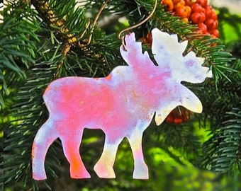 Moose Christmas Ornament Rustic Copper Metal Decoration. Maine Summer Souvenir Wall Hanging. Woodland Animal. Xmas Tree and Holiday Decor