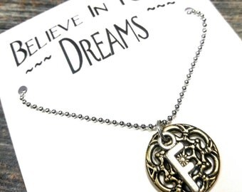 Believe In Your Dreams - Necklace With Initial & Dream Catcher Charm (Shiny Gold)