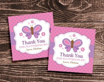 Personalized Butterfly Party Favor Tags or Stickers – DIY Printable (Digital File)