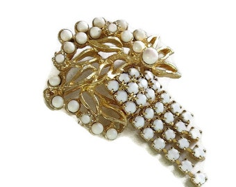 Milk Glass Dangle Brooch Vintage White with Rhinestones
