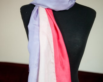 Vintage 1950s Scarf - Extra Large Long Vertically Striped Silk Scarf in Shocking Pink, Lavendar and Blush Pink