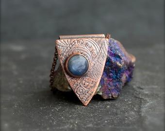Blue Kyanite Necklace - Gemstone Pendant, Etched Brown Copper, Dark Oxidized Patina, Boho Tribal Print, Metalwork Jewellery