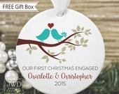 First Christmas Ornament Personalized Engagement Gift Love Bird Tree Ornament Our First Christmas Engaged Couples Gift  - Item# LBB-O