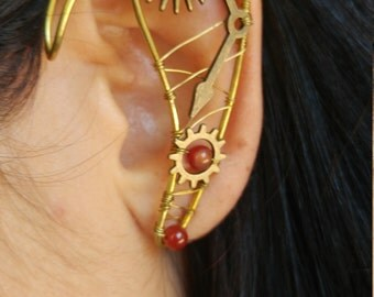 Steampunk Elf ear ear cuff pair w/ Carnelian gemstones unique wire work Elf Ears, Elvish, Elven Ears, Pixie Ears, Fairy Ears,Ssteampunk Ears