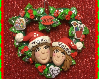 Mom and Daughter or Son, Personalized Christmas Ornament
