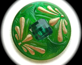 2 Czech Glass Buttons on SALE, 42mm 1-5/8 inch - Glass Buttons with Double Gold Dragonflies on Jewel Green Faceted Gem - CLEARANCE