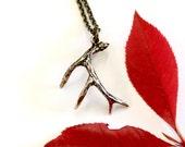 Bronze 3D Whitetail Deer Antler Pendant Necklace - Moon Raven Designs 004
