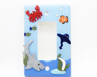 Nautical Themed Light Switch Cover or Outlet Cover - Nautical Nursery - Children's Under the Sea Decor - Toggle or Rocker Cover