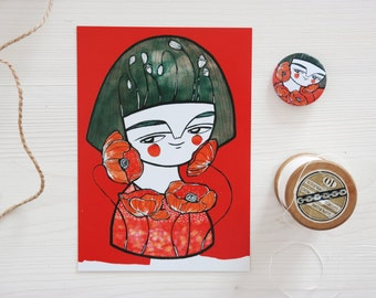 SET, Red poppies postcard + red geisha brooch