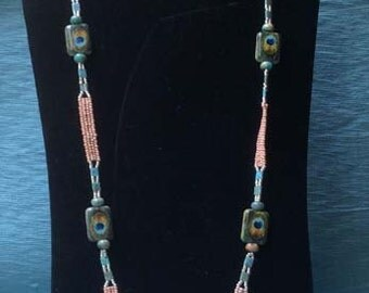 Peacock feather Necklace & Earring Set