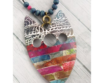 Polymer Clay Pendant Beach Boho Jewelry featuring Textured Striped Design in Magenta, Orange, Red, Blue and White