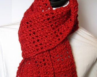Red Scarf, Red Scarves, Gift for Her, Winter Scarf, Fall Scarf,   Crochet Scarf, Crochet Scarves, Red Crochet Scarf, Red Crochet