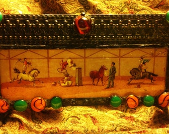 Stained Glass & Antique Image Candle Holder - Vintage Circus Acrobats and Horses