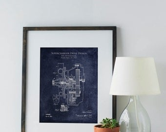 Supercharger patent print, patent poster, patent art, blueprint art, automotive art, automotive decor, car part art, car part blueprint