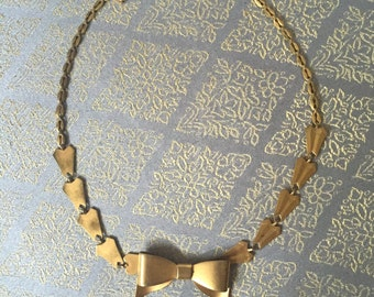 Bow Tie Choker Chain Bib Necklace - Vintage 70s