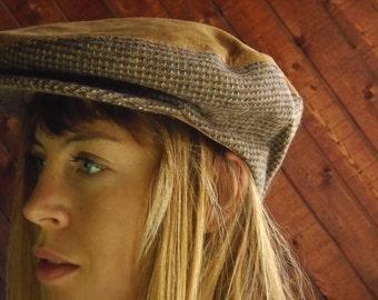 Brown Suede and Tweed Paperboy Cap
