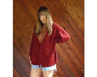 Oversized Red Marled V Neck Cardigan Sweater - Vintage 80s - M/L
