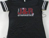 Team J&R Gymnastics Bling and Glitter Grey Jersey, CUSTOM Order for J and R