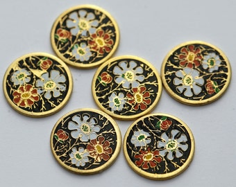 Vintage Cabochons Gold Enamel Round Flowers Black Red White Cabs Cloisonne 12mm (4)