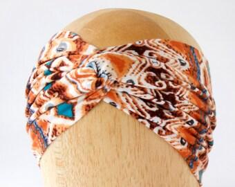 Aztec Tribal Print Boho Chic Twist Turban Headband Soft Headband Headscarf Gift For Her Earwarmer Headwrap Spring Fashion Spring Accessories