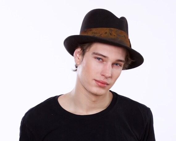 Mens Felt Fedora Hat 1920's Men's Hat Men's Accessories Fall Fashion Custom Men's Hat Man Hat Men's Style Fall Accessories Brown Fedora