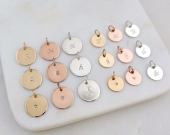 """Initial Disc Charm, Silver Initial Charm, Rose Gold Initial Charm, 14K Gold Filled Initial Charm, Argentium Sterling Silver, 3/8"""" or 1/2"""""""
