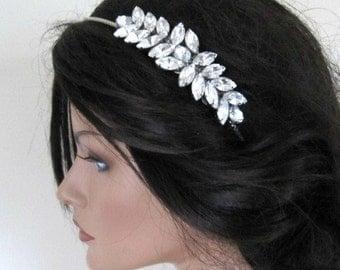 Crystal leaf Wedding headband Art Deco Grecian style crystal leaf vintage style wedding bridal silver bridal hair accessories