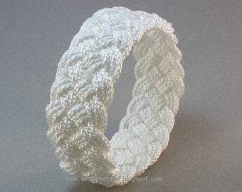 white nylon turks head bracelet hand knotted rope bracelet nautical bracelet made to order 2550