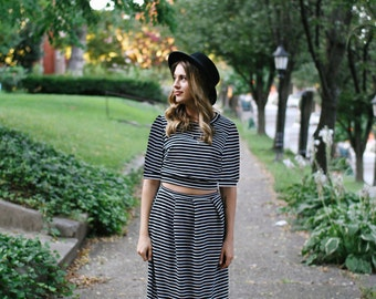 Ready to ship - Long Sleeve Crop Top Tee, Midi Skirt, Black and White Striped Jersey, LineandBloom Separates, Three Quarter Sleeve dress