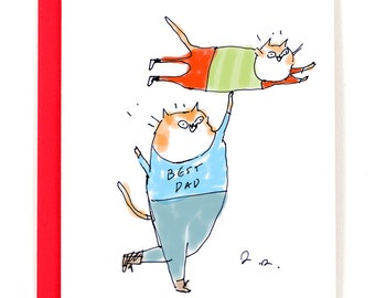 Best Dad Ever - Funny Father's Day Card - Cat Dad Card