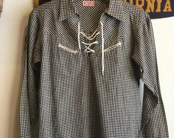 Vintage 50s gingham cowboy blouse