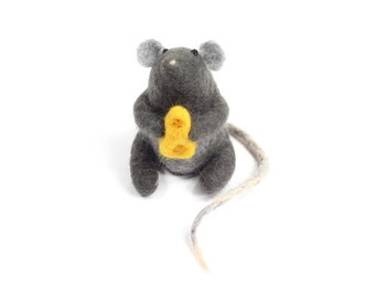 Needle Felted Gray Mouse Holding Cheese Sculpture Handmade Out Of Wool Great Pin Cushion Desk Charm Gift For Mouse Lover - READY TO SHIP