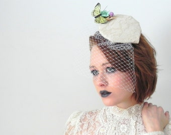 Blush Lace Butterfly Fascinator with Netting Veil