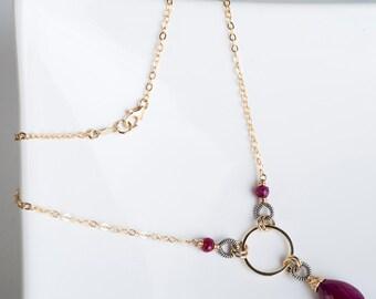 Joslin Necklace in Gold & Oxidized Silver w/ Ruby Gemstone